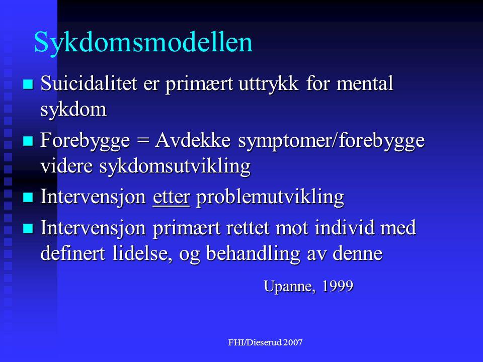 Sykdomsmodellen Suicidalitet er primært uttrykk for mental sykdom