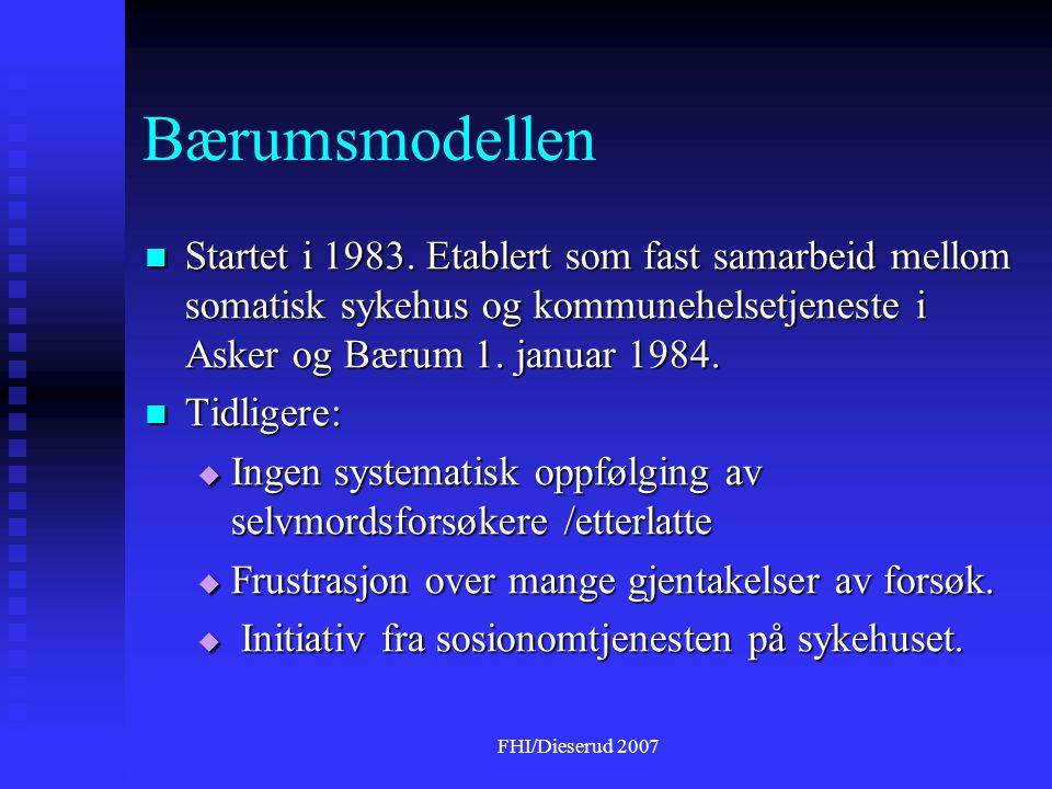 Bærumsmodellen Startet i 1983. Etablert som fast samarbeid mellom somatisk sykehus og kommunehelsetjeneste i Asker og Bærum 1. januar 1984.