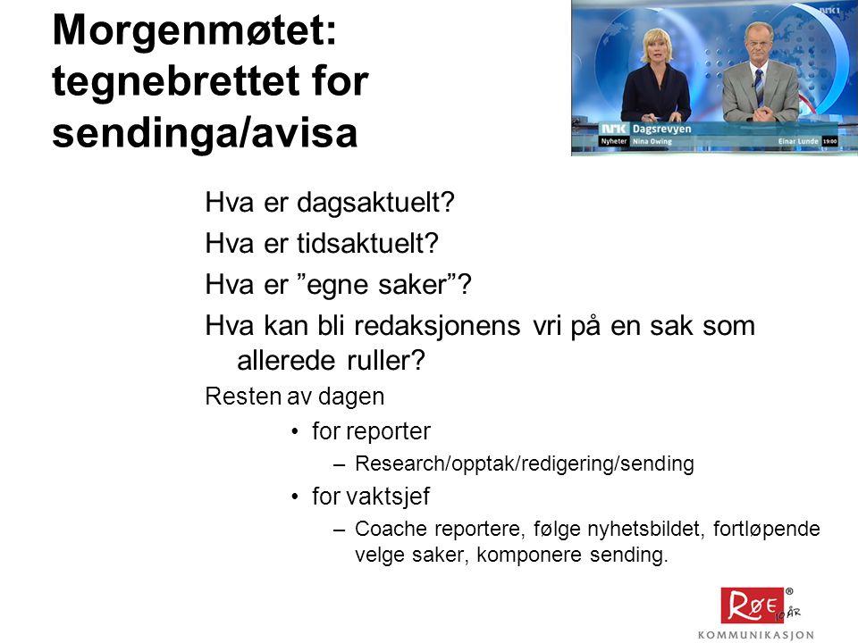 Morgenmøtet: tegnebrettet for sendinga/avisa