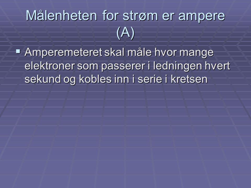Målenheten for strøm er ampere (A)