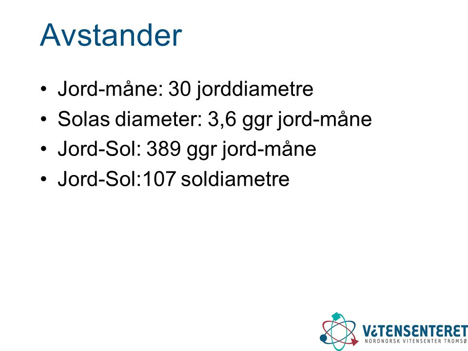 Avstander Jord-måne: 30 jorddiametre Solas diameter: 3,6 ggr jord-måne