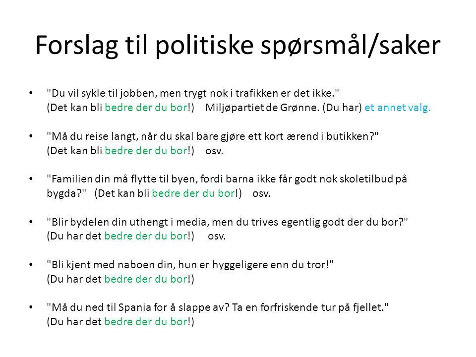 Forslag til politiske spørsmål/saker