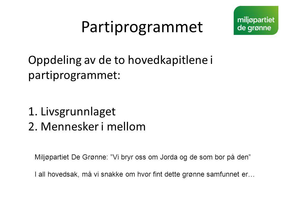 Partiprogrammet Oppdeling av de to hovedkapitlene i partiprogrammet: 1. Livsgrunnlaget 2. Mennesker i mellom