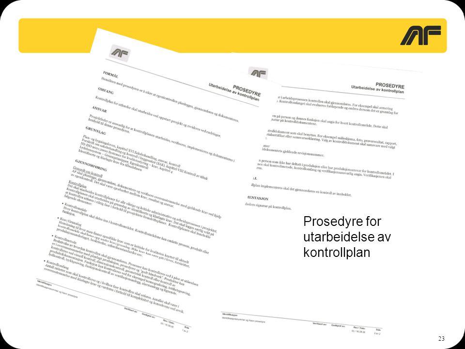 Prosedyre for utarbeidelse av kontrollplan