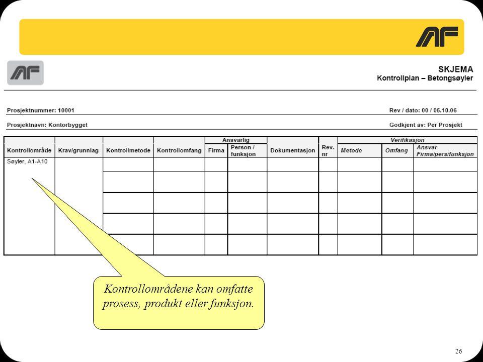 Kontrollområdene kan omfatte prosess, produkt eller funksjon.