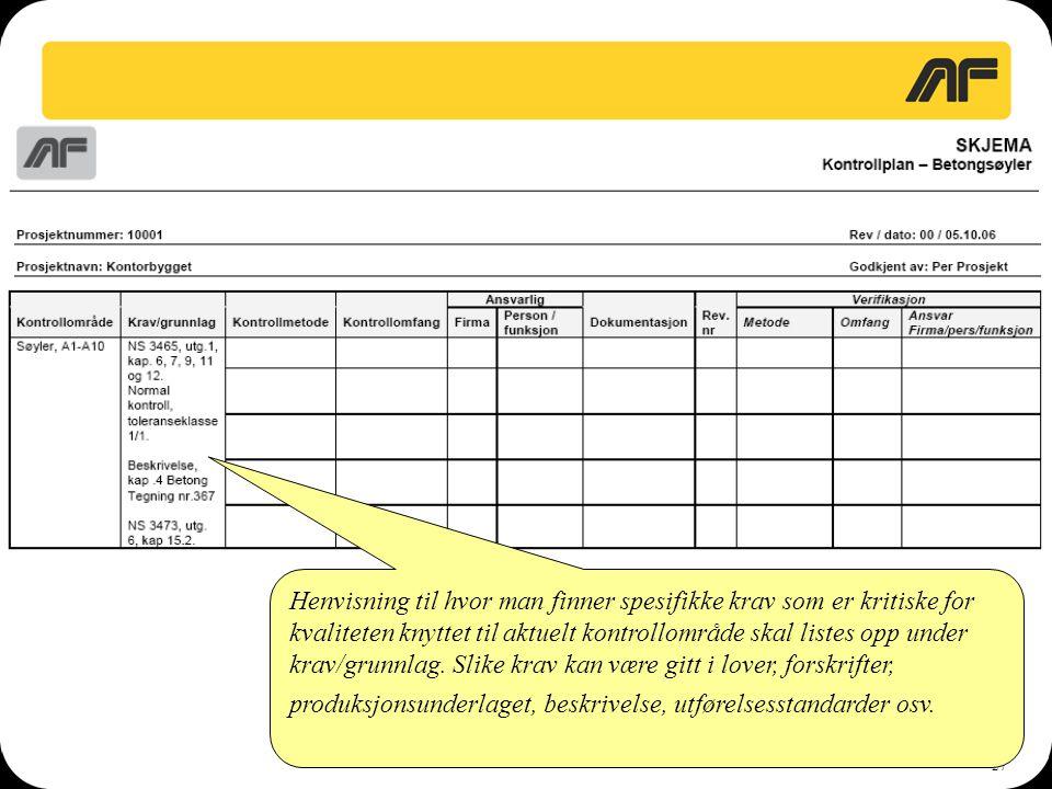 Henvisning til hvor man finner spesifikke krav som er kritiske for kvaliteten knyttet til aktuelt kontrollområde skal listes opp under krav/grunnlag.