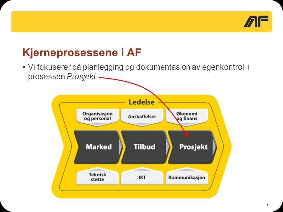 Kjerneprosessene i AF Vi fokuserer på planlegging og dokumentasjon av egenkontroll i prosessen Prosjekt.