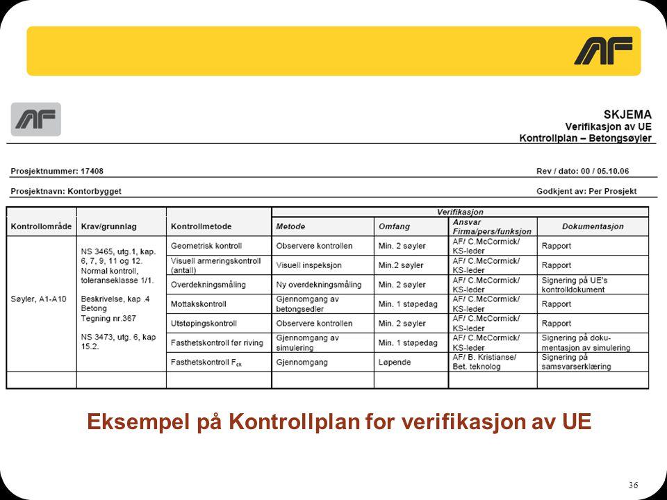Eksempel på Kontrollplan for verifikasjon av UE