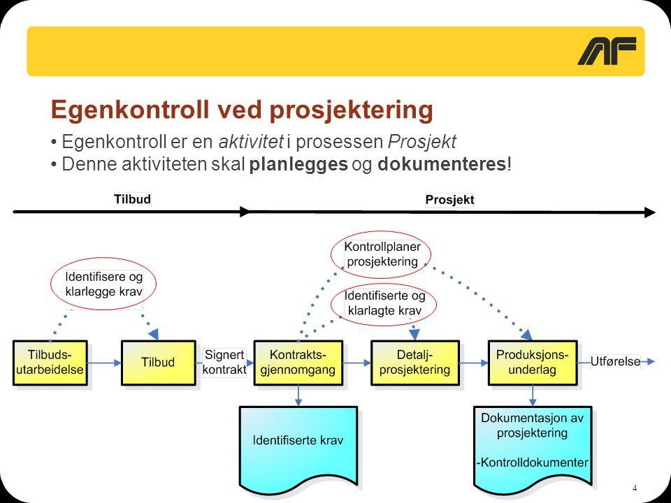 Egenkontroll ved prosjektering
