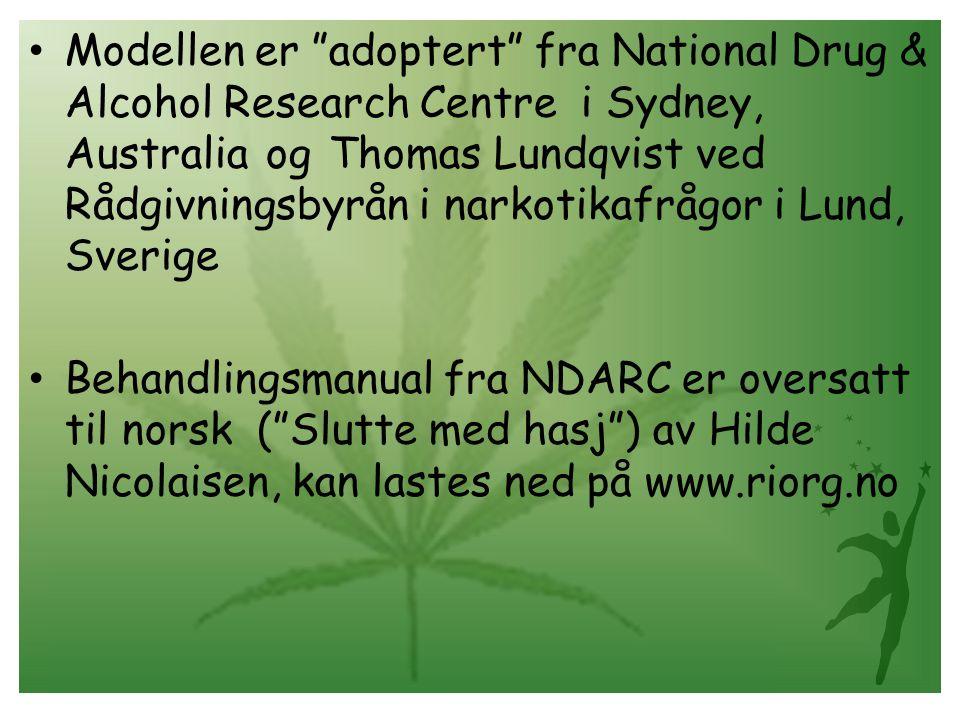 Modellen er adoptert fra National Drug & Alcohol Research Centre i Sydney, Australia og Thomas Lundqvist ved Rådgivningsbyrån i narkotikafrågor i Lund, Sverige