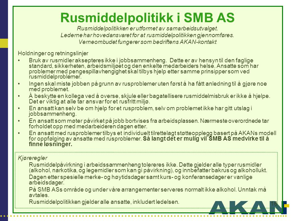 Rusmiddelpolitikk i SMB AS
