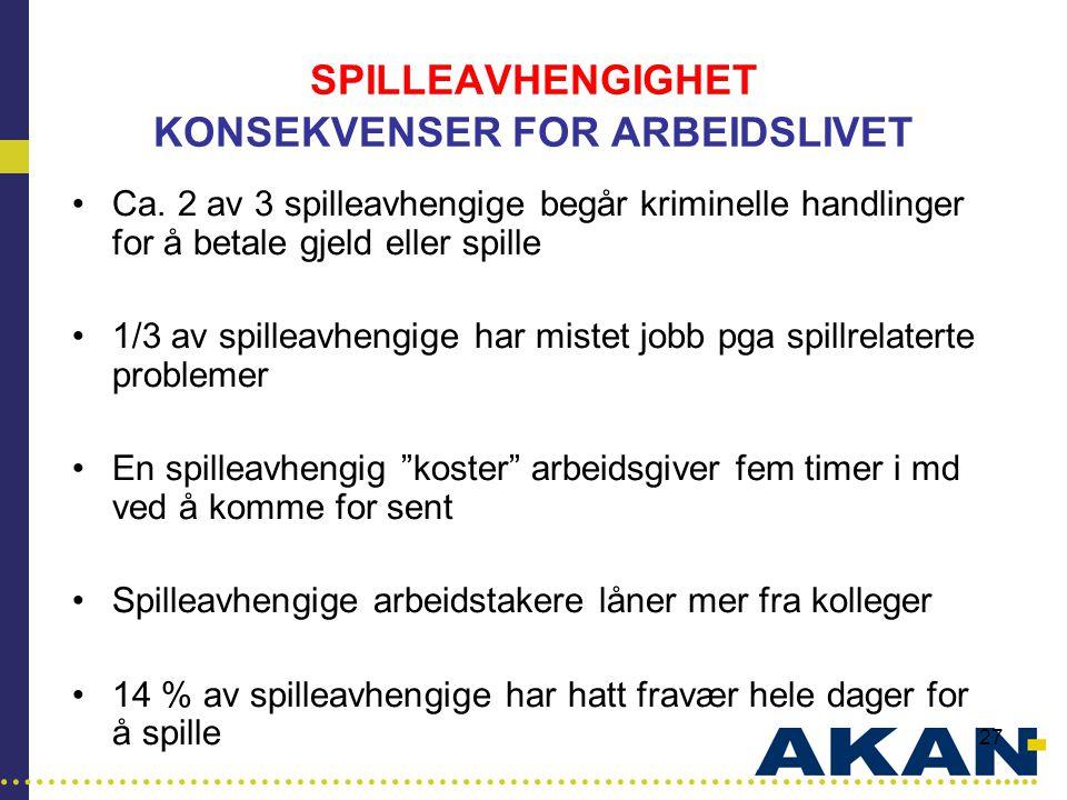 SPILLEAVHENGIGHET KONSEKVENSER FOR ARBEIDSLIVET
