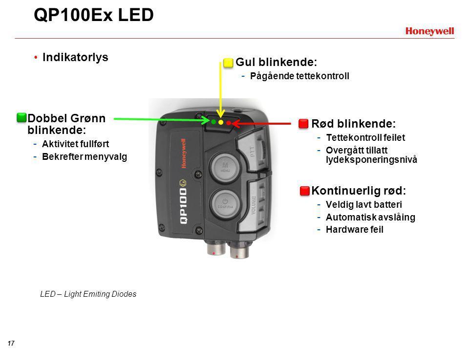 QP100Ex LED Indikatorlys Gul blinkende: Dobbel Grønn blinkende: