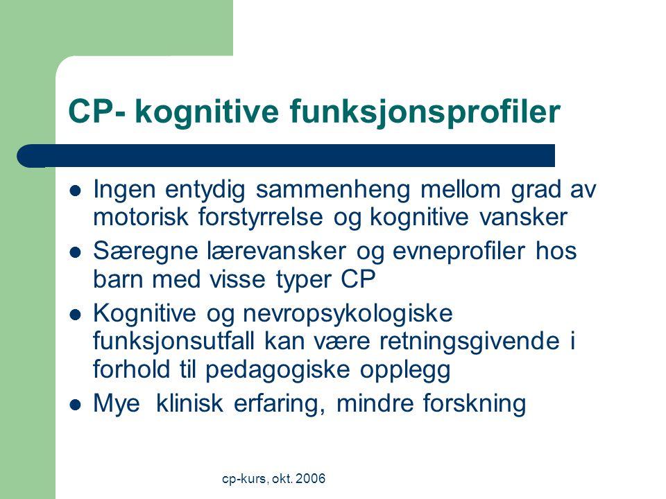 CP- kognitive funksjonsprofiler