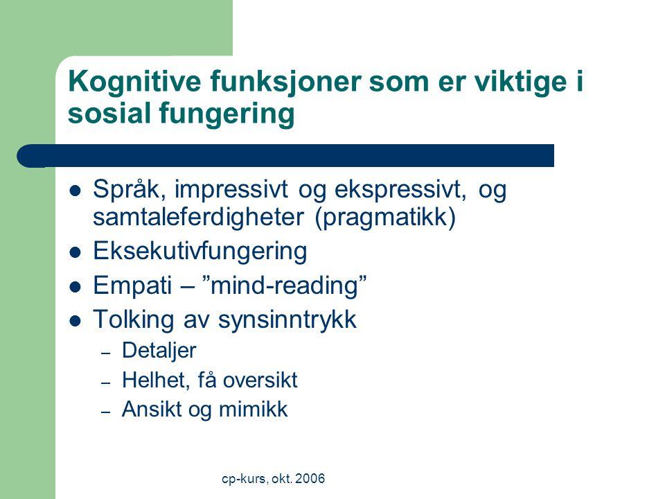 Kognitive funksjoner som er viktige i sosial fungering