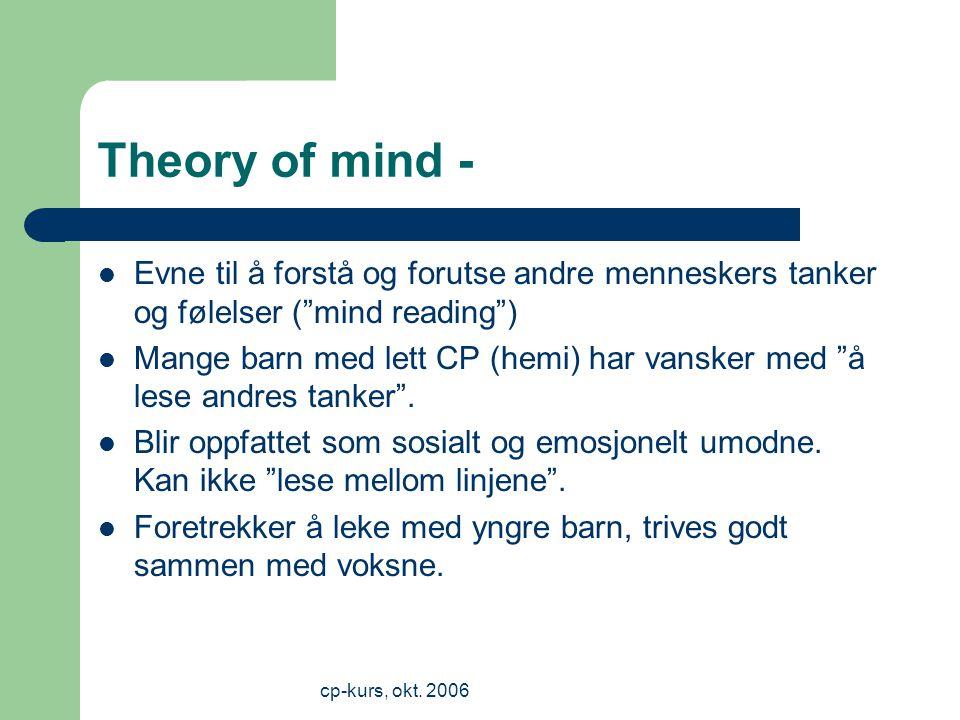 Theory of mind - Evne til å forstå og forutse andre menneskers tanker og følelser ( mind reading )