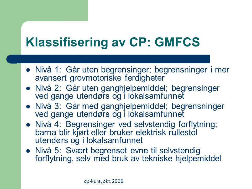 Klassifisering av CP: GMFCS