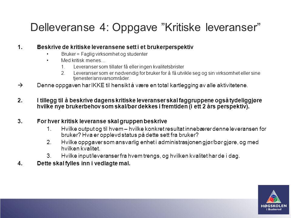 Delleveranse 4: Oppgave Kritiske leveranser