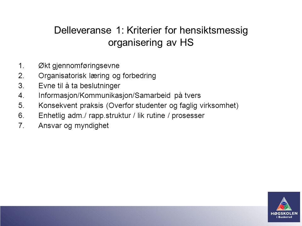Delleveranse 1: Kriterier for hensiktsmessig organisering av HS