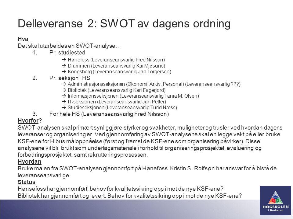 Delleveranse 2: SWOT av dagens ordning