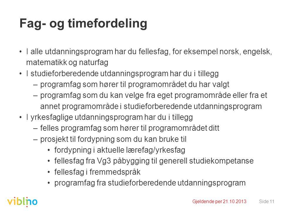 Fag- og timefordeling I alle utdanningsprogram har du fellesfag, for eksempel norsk, engelsk, matematikk og naturfag.