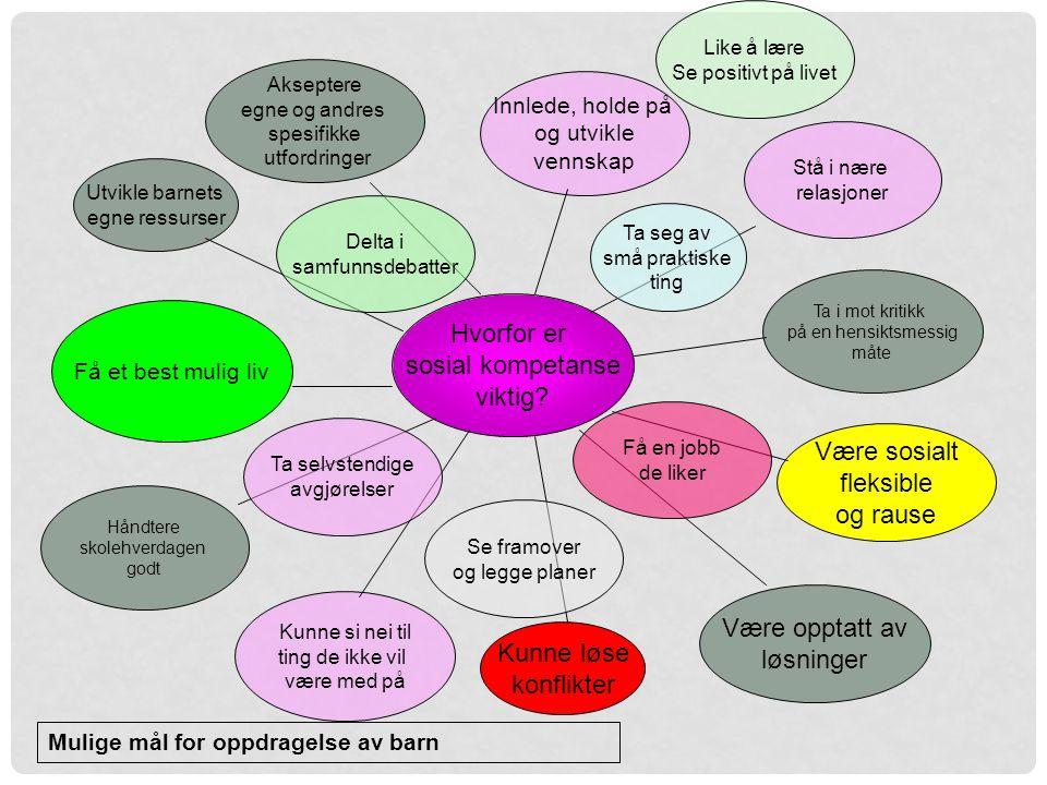 Hvorfor er sosial kompetanse viktig Være sosialt fleksible og rause