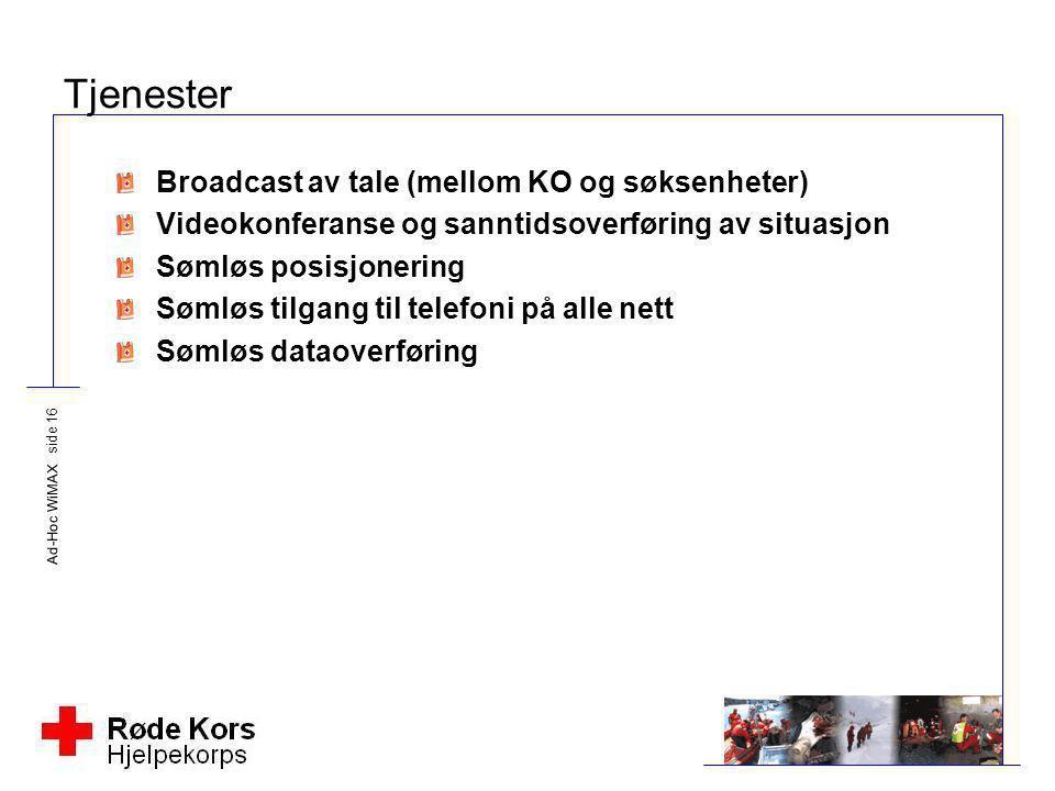 Tjenester Broadcast av tale (mellom KO og søksenheter)