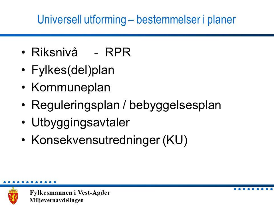 Universell utforming – bestemmelser i planer