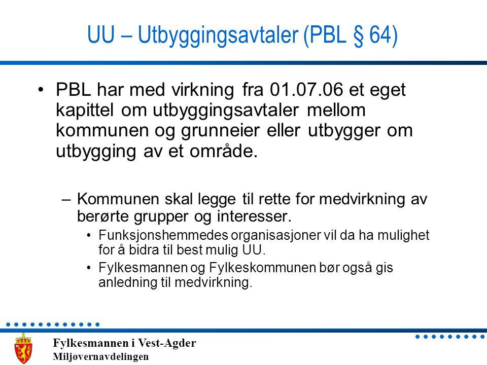 UU – Utbyggingsavtaler (PBL § 64)