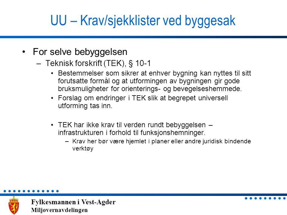 UU – Krav/sjekklister ved byggesak