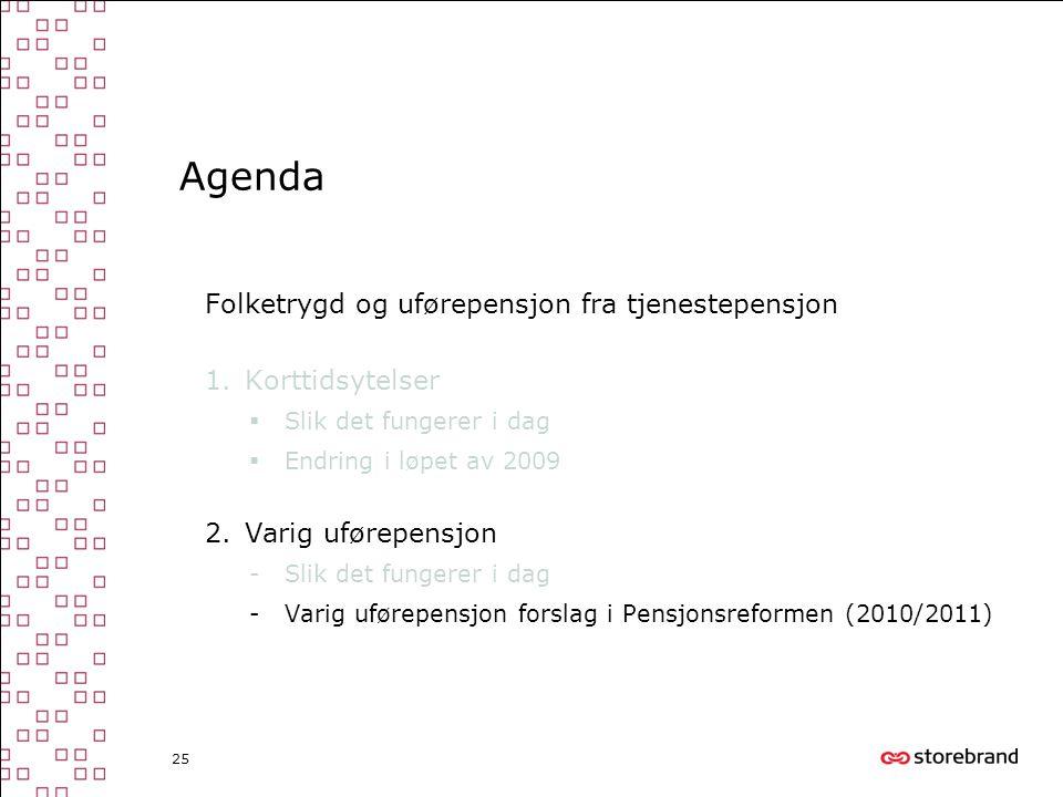 Agenda Folketrygd og uførepensjon fra tjenestepensjon Korttidsytelser
