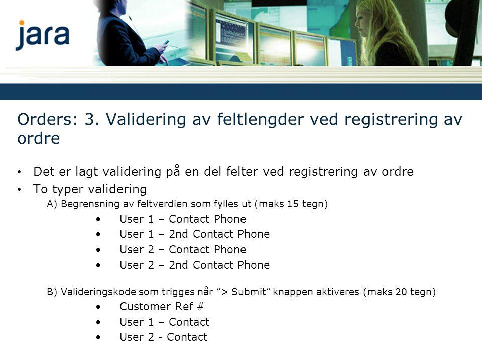 Orders: 3. Validering av feltlengder ved registrering av ordre