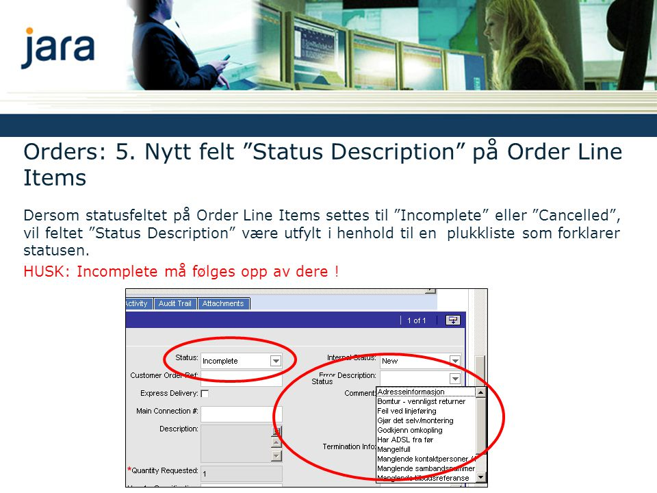 Orders: 5. Nytt felt Status Description på Order Line Items