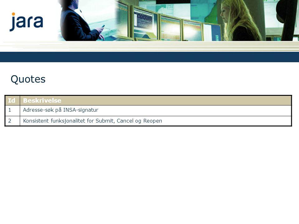 Quotes Id Beskrivelse 1 Adresse-søk på INSA-signatur 2