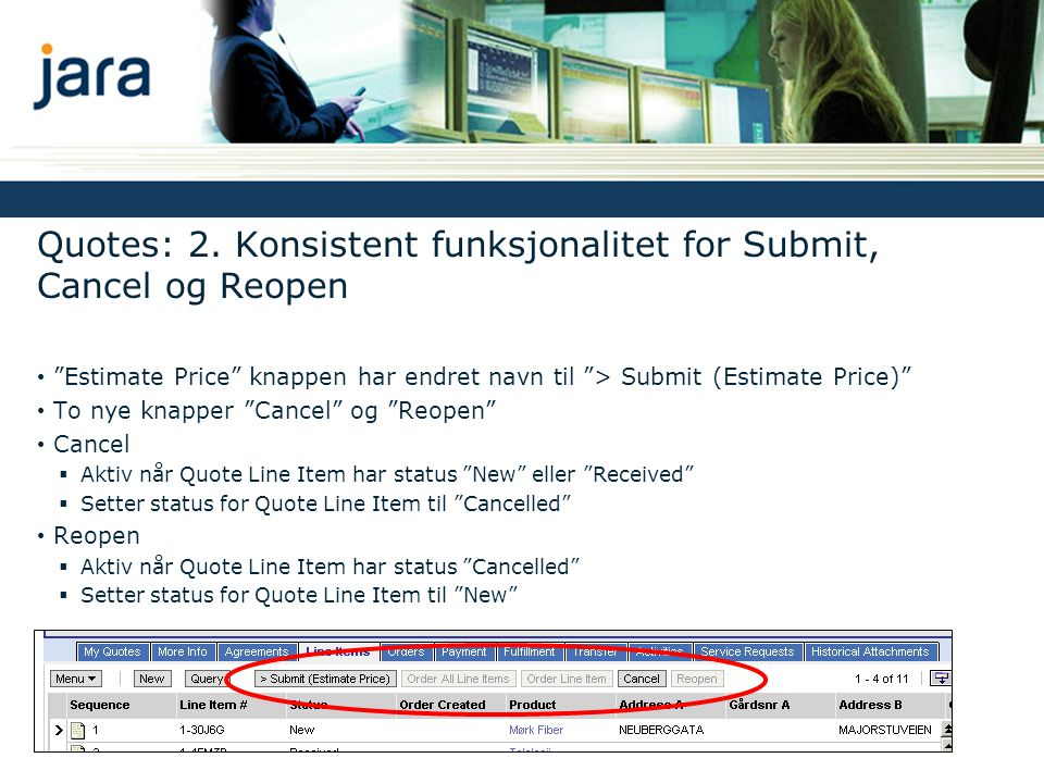 Quotes: 2. Konsistent funksjonalitet for Submit, Cancel og Reopen