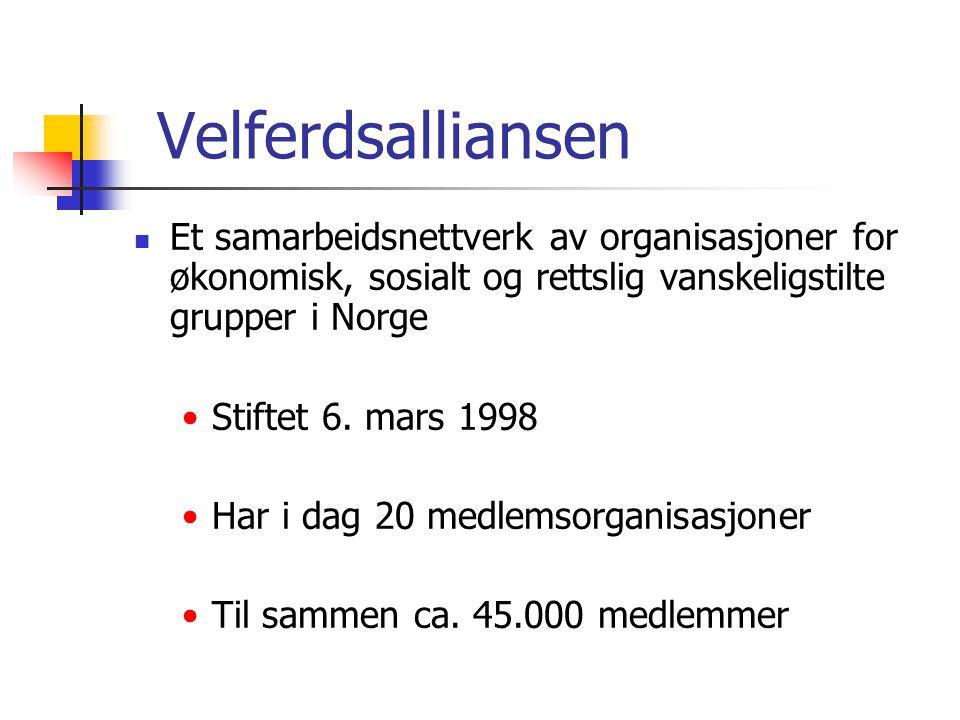Velferdsalliansen Et samarbeidsnettverk av organisasjoner for økonomisk, sosialt og rettslig vanskeligstilte grupper i Norge.