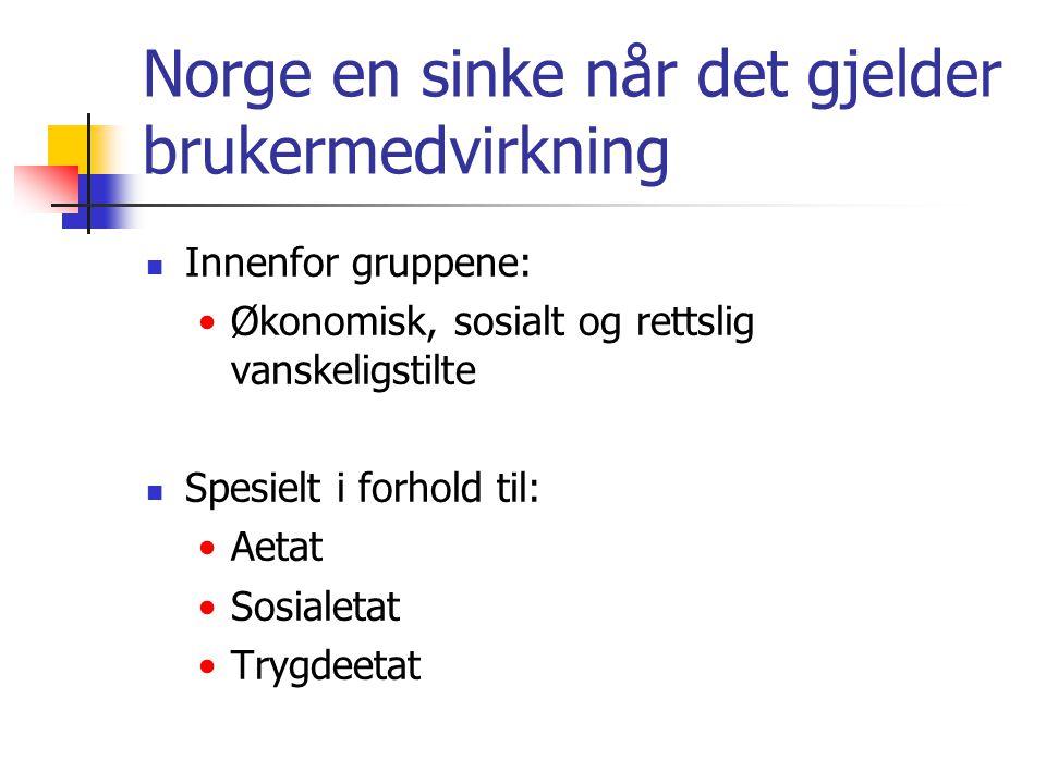 Norge en sinke når det gjelder brukermedvirkning