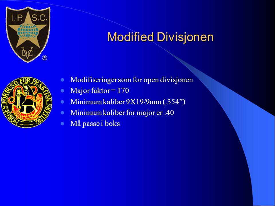 Modified Divisjonen Modifiseringer som for open divisjonen