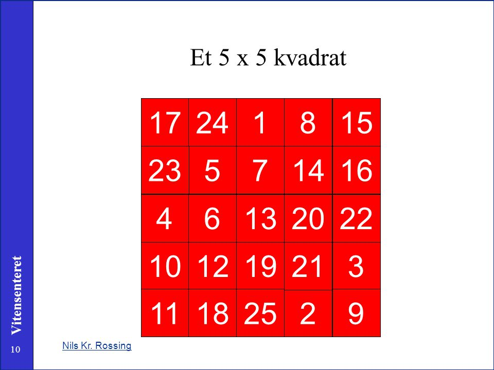 Et 5 x 5 kvadrat 17 24 1 8 15 23 5 7 14 16 4 6 13 20 22 10 12 19 21 3 11 18 25 2 9 Nils Kr. Rossing