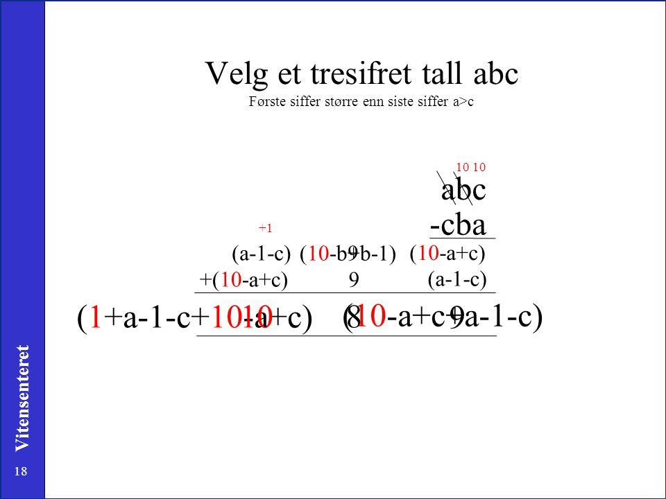 Velg et tresifret tall abc Første siffer større enn siste siffer a>c