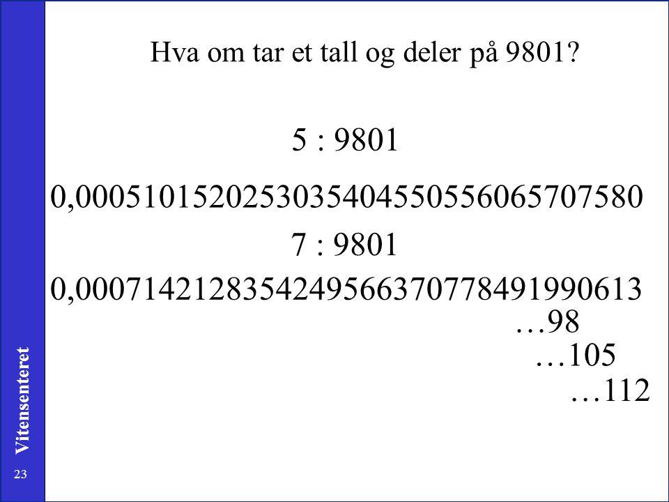 Hva om tar et tall og deler på 9801