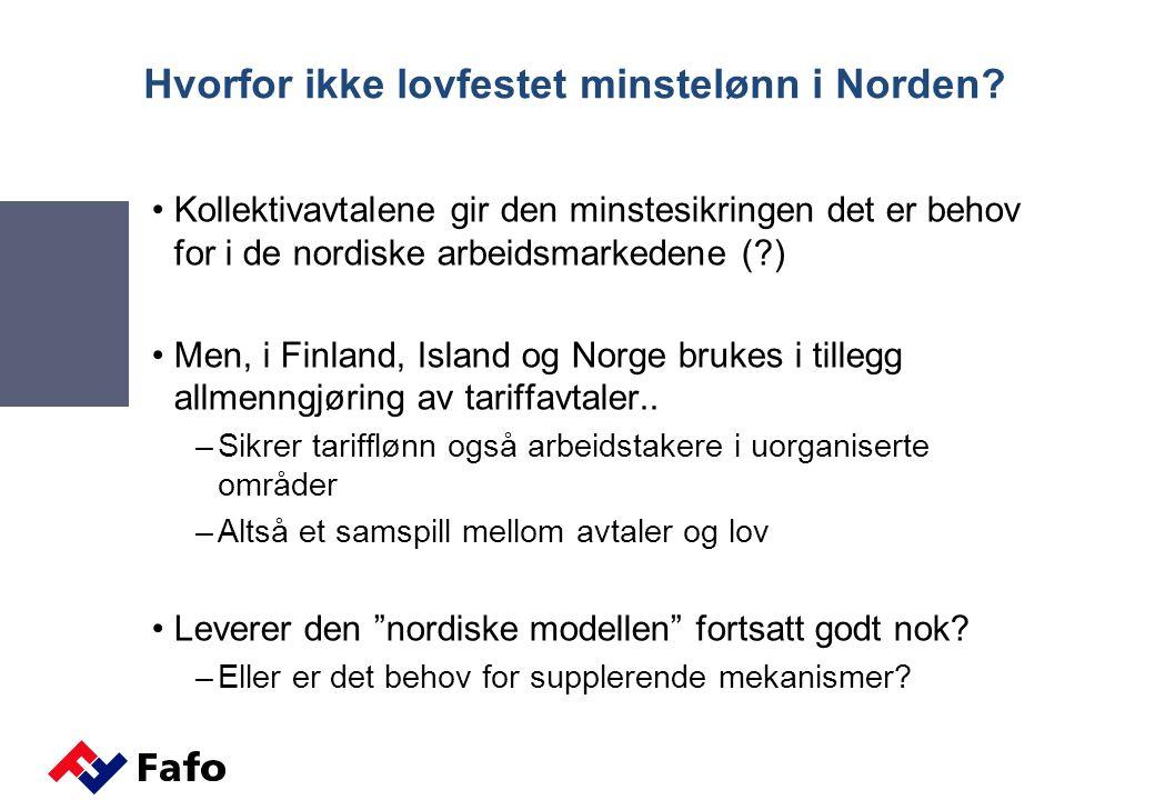 Hvorfor ikke lovfestet minstelønn i Norden