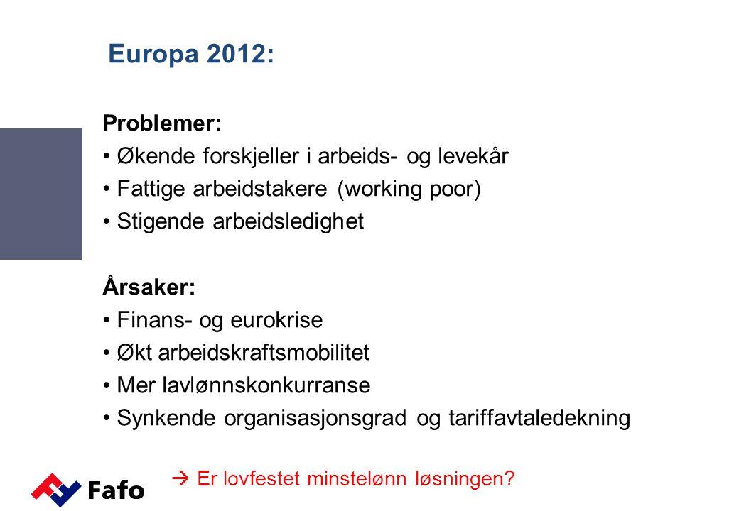 Europa 2012: Problemer: Økende forskjeller i arbeids- og levekår