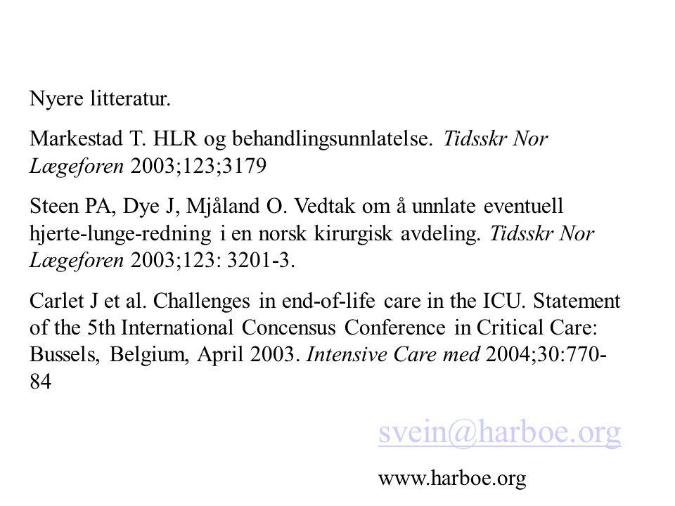 svein@harboe.org Nyere litteratur.