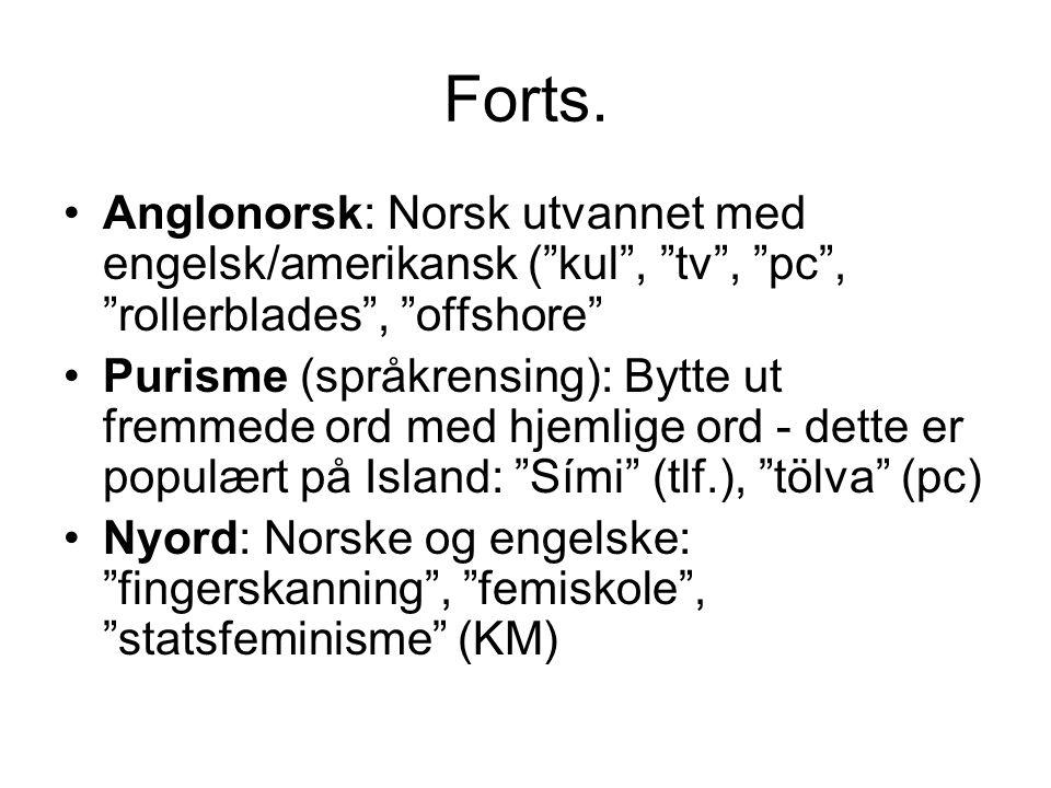 Forts. Anglonorsk: Norsk utvannet med engelsk/amerikansk ( kul , tv , pc , rollerblades , offshore