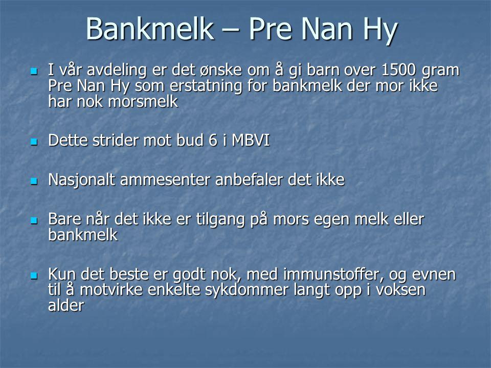 Bankmelk – Pre Nan Hy I vår avdeling er det ønske om å gi barn over 1500 gram Pre Nan Hy som erstatning for bankmelk der mor ikke har nok morsmelk.