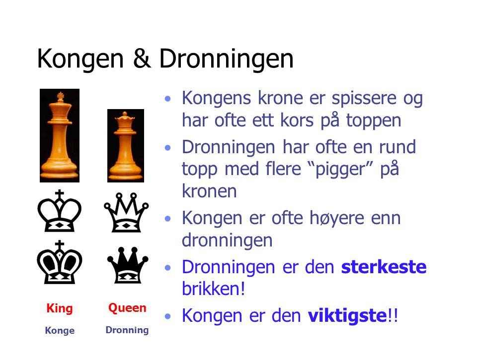 Kongen & Dronningen Kongens krone er spissere og har ofte ett kors på toppen. Dronningen har ofte en rund topp med flere pigger på kronen.