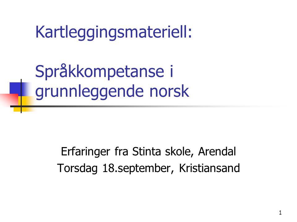 Kartleggingsmateriell: Språkkompetanse i grunnleggende norsk