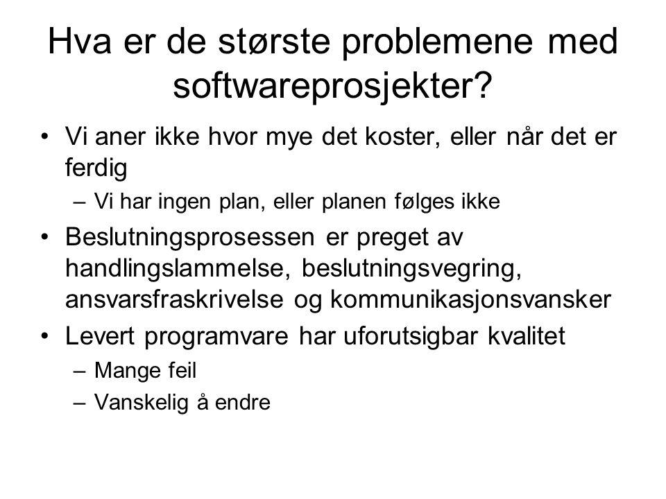 Hva er de største problemene med softwareprosjekter