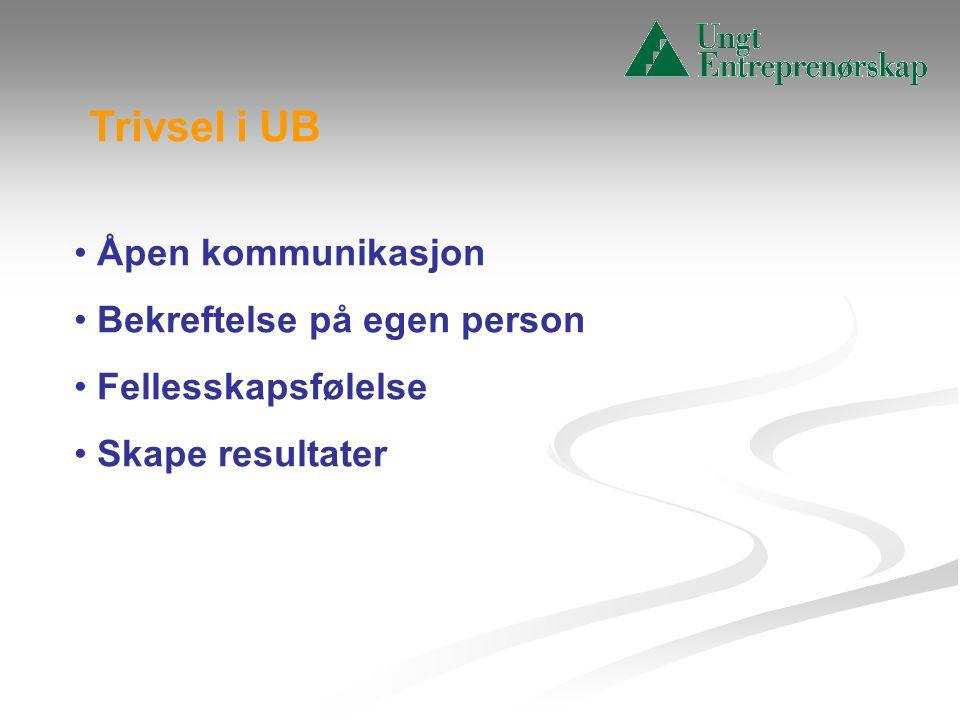 Trivsel i UB Åpen kommunikasjon Bekreftelse på egen person